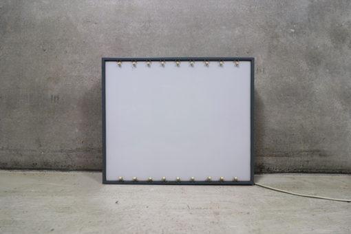 lyskasse til røngtenbilleder, kassen er i metal med hvid glas plade og små klemholdere til billederne, med lyskilder indeni til 220V, har været brugt i Rockerfeller instituttet i Kbh.